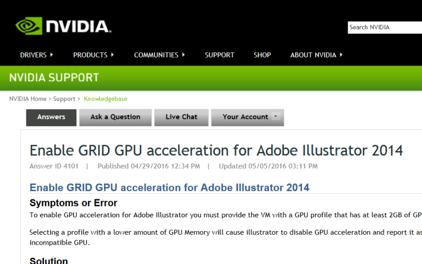 NVIDIA GRID Knowledge Base – New Articles