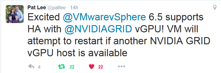 VMWare ESXi announce High Availability (HA) for NVIDIA GRID vGPU VMs with vSphere 6.5